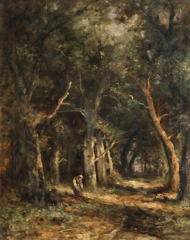 French School, 19th Century A forest interior with a figure 20 x 16in
