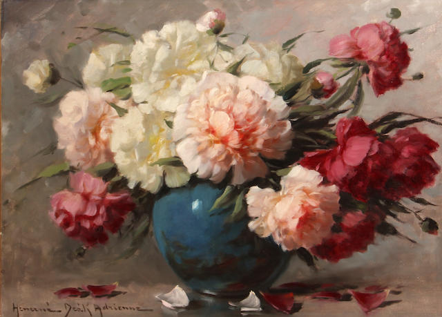 Adrienne Henczné Deák (Hungarian, 1890-1956) Still life with peonies in a blue vase 23 3/4 x 31 1/2in