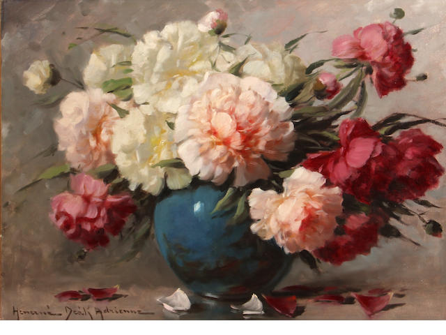 Adrienne Heizne Deak, * ON INSPECTION - RESEARCH ARTIST/SIGNATURE * Peonies, o/c