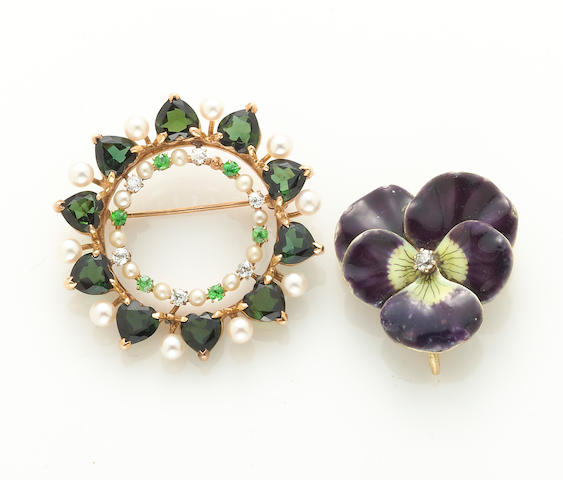 A cultured and seed pearl, tourmaline, demantoid garnet, diamond and 14k gold circle brooch together with an enamel, diamond and 14k gold pansy brooch