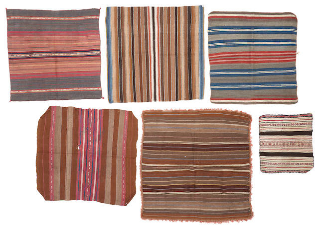 Six antique Bolivian ritual cloths