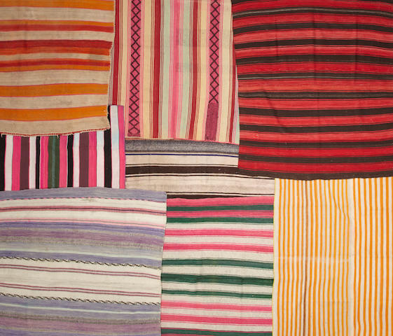 Eight Bolivian blankets