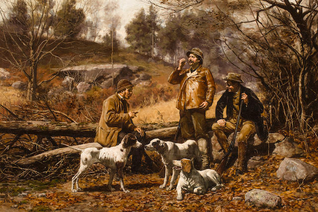 John Martin Tracy (American, 1843-1893) Dog Talk 24 x 36 in. (61 x 91.4 cm.)