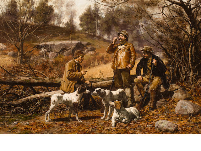 John Martin Tracy (American, 1843-1893) Dog Talk 24 x 36 in. (61 x 91.4 cm.)