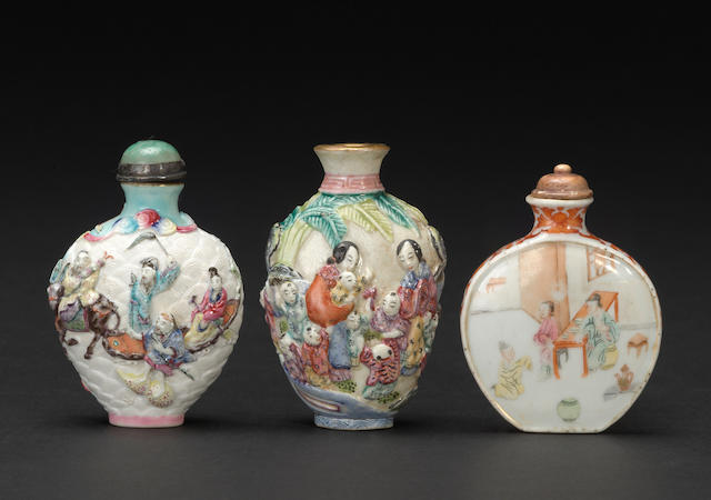 Three porcelain snuff bottles