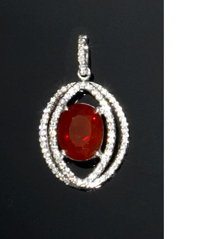 Cherry Red Fire Opal and Diamond Pendant