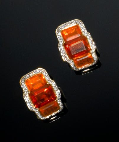 Pair of Fire Opal and Diamond Earrings