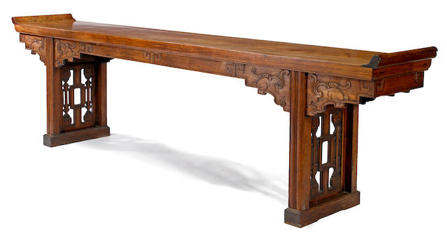 A massive huanghuali veneered altar table 18th century