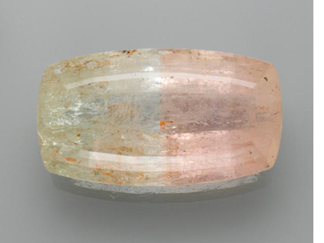 Beryl var. Bicolor Morganite-Green Beryl--A Member of the '100 Carats Club'