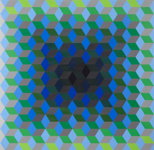 "Vasarely (4 framed + 1 box), Homage to the Hexagon, framed, with portfolio box (black w/red/green/purple/blue hexagon printed in center of lid, app. 28"" x 28"")"