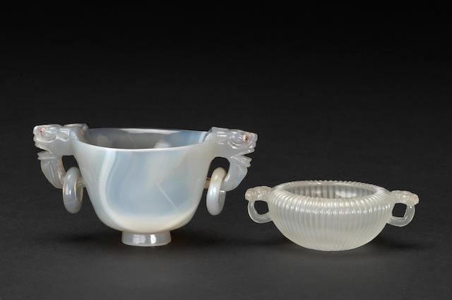 Two agate vessels with handles 19th/20th century