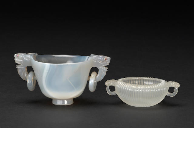 A group of two agate handled vessels, 19th/20th century