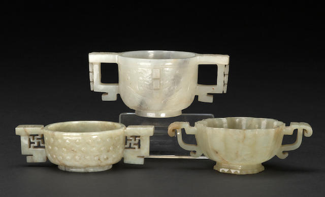 Group of three carved jade libation cups Late Ming/Qing dynasty