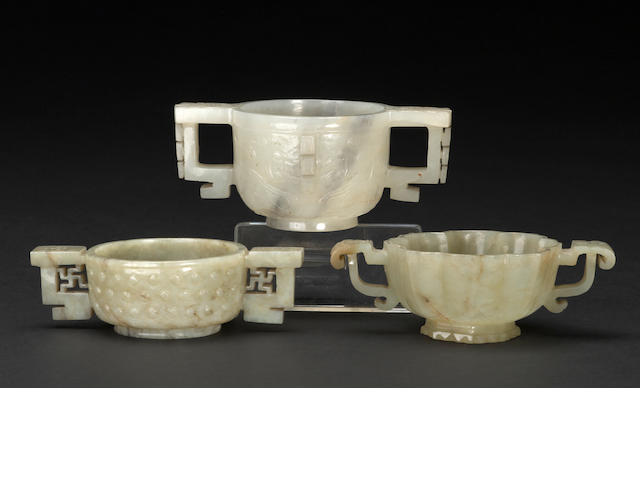 Group of three carved jade libation cups
