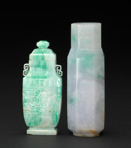Two carved jadeite vases, one with lidd