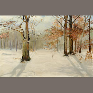 Leon Durand Bonnet (American, 1868-1936) A Noreaster 1926; Wintry wooded wonderland (Two)