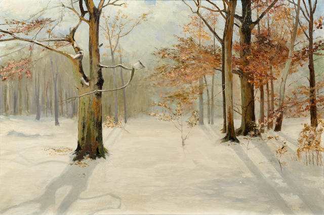 Leon Durand Bonnet (American, 1868-1936) A Nor'easter 1926; Wintry wooded wonderland (Two) 30 x 40in; 20 x 30in