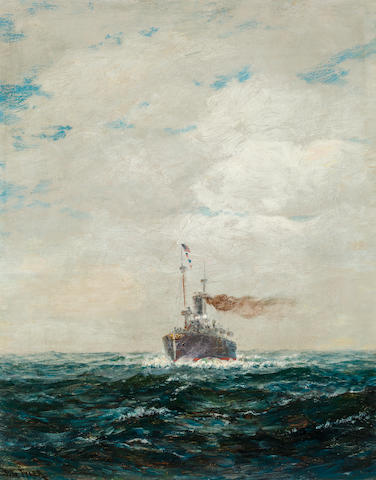 James Gale Tyler (American, 1855-1931), circa 1910 An American cruiser at sea<BR /> 20 x 16 in. (50.8 x 40.6 cm.)