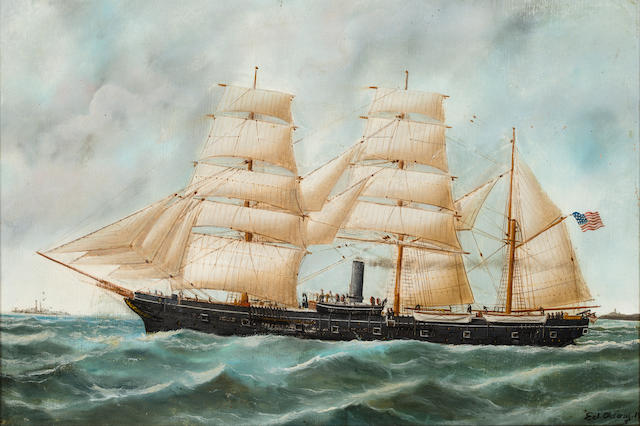 American School, <BR />Ed Adam, 20th century An American naval sail/steam ship under full sail 15 x 21-1/2 in. (38.1 x 54.6 cm.)