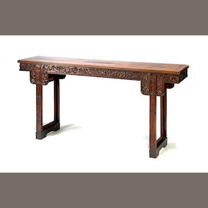 An elaborately carved hongmu side table Late Qing/Republic period