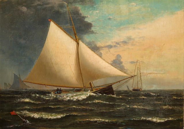 Attributed to Archibald Cary Smith (American, 1837-1911) A gaff rigged sloop passing the racing mark 15 x 21 in. (38.1 x 53.4 cm.)