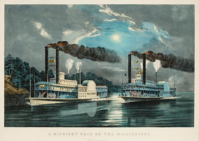 "Currier & Ives <BR />""A Midnight Race on the Mississippi""<BR />  hand-colored lithograph inscribed below the plate ""E.F.Palmer Del from a sketch by H.D. Manning of The Natches"" / ""Entered according to act of Congress in the year 1860, by Currier & Ives, In the Clerk's Office of the District Court for the Southern Distr of NY"" / ""Lith of Currier & Ives"" / New York, Published by Currier & Ives 152 Nassau St."
