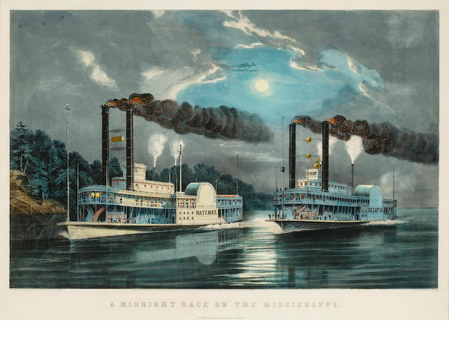 'A Midnight Race on the Mississippi' by Currier & Ives, Framed Print