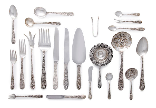 111-piece associated sterling silver repousse flatware