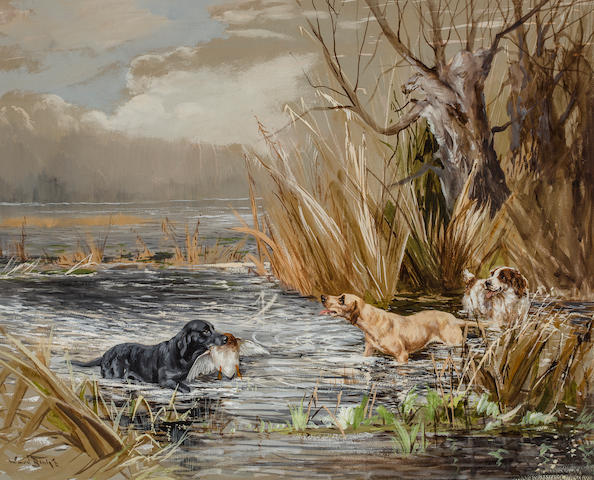 Reuben Ward Binks (British, 1880-1950) Duck Shooting: Banchory Rex, Banchory Slider, Banchory Dancho <BR />18 3/4 x 23 1/2 in. (47.6 x 59.7 cm.)