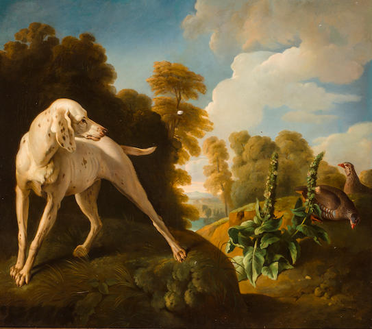 Manner of Alexandre François Desportes Hound and fowl in a landscape 45 3/4 x 51 3/4 in. (116.2 x 131.4 cm.)