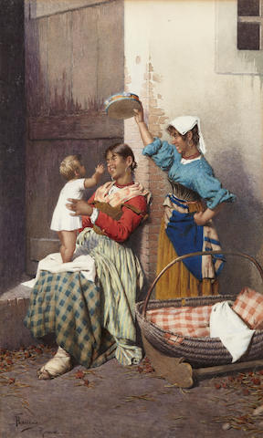 Federico Ballesio (Italian) Mother's darling sight 21 x 14in