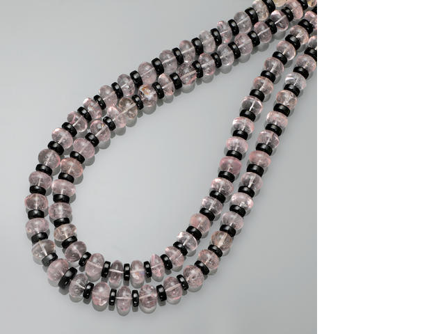 Morganite and Black Spinel Necklace