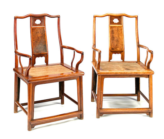 A pair of huanghuali and burl wood continuous yoke back arm chairs, nanguanmaoyi 18th century