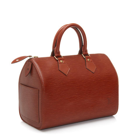 A Louis Vuitton cognac Epi leather Speedy handbag