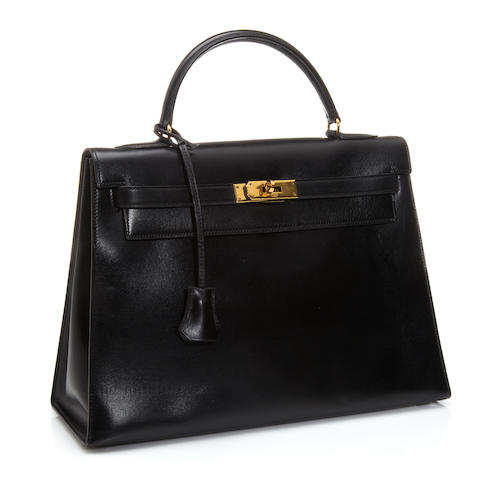 An Hermès blue-black leather Kelly handbag