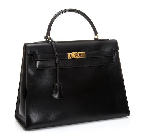 An Hermès blue-black leather Kelly handbag