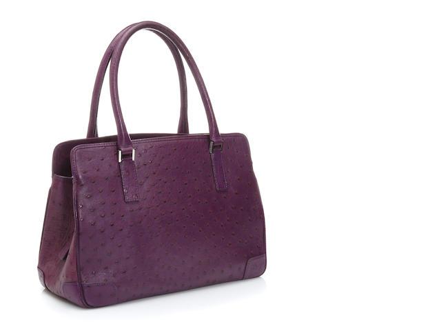 A Kwanpen purple ostrich handbag