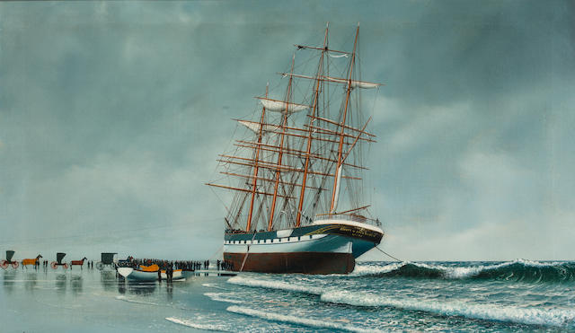 Antonio Nicolo Gasparo  Jacobsen (American, 1850-1921) The ship County of Edinburgh stranded on a beach 18 x 30 in. (45.7 x 76.2 cm.)