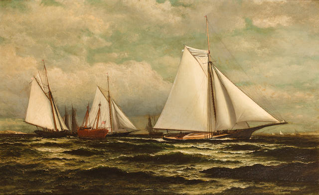 William Bradford (American, 1823-1892) The Goelet Prize for sloop yachts with Gracie in the lead<BR /> 22-1/8 x 36 in. (56.1 x 91.4 cm.)