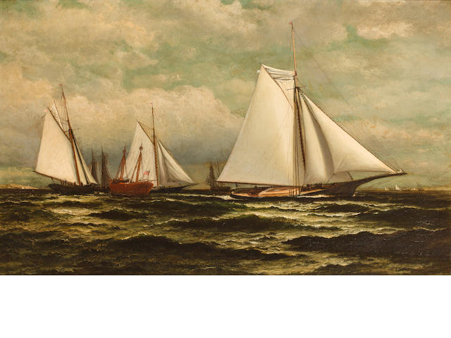 William Bradford (American, 1823-1892) The Goelet Prize for sloop yachts with Gracie in the lead  22-1/8 x 36 in. (56.1 x 91.4 cm.)