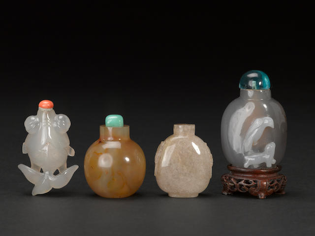 A group of four agate snuff bottles 1880-1940
