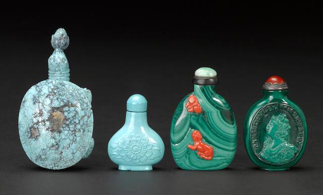 Four hardstone snuff bottles 1880-1950