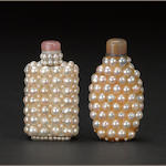 Two mother-of-pearl encrusted bottles 1880-1940