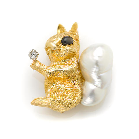 A baroque cultured pearl, cubic zirconia, gem-set and gold squirrel brooch
