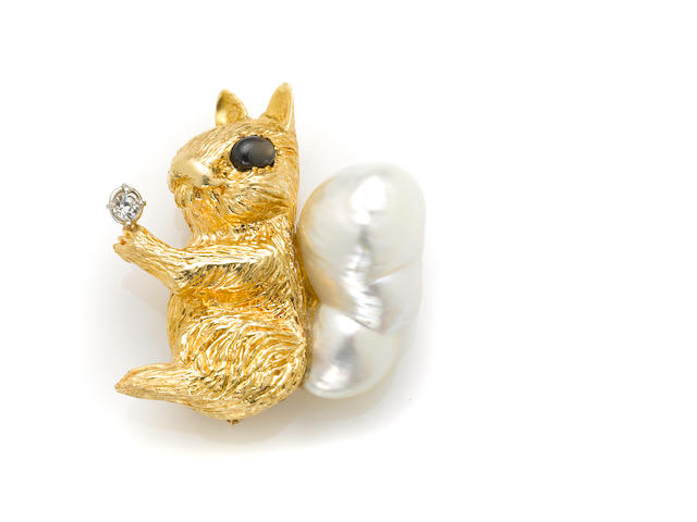 A baroque cultured pearl, cubic zirconia, gem-set and 14k gold squirrel brooch,