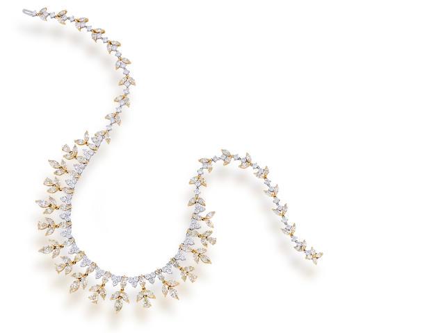 A diamond and colored diamond fringe necklace