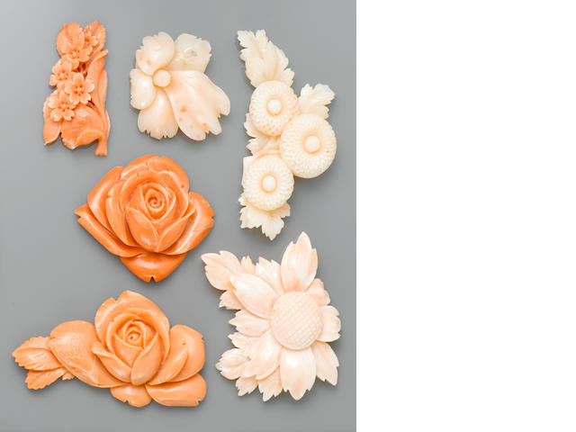 Group of Six Carved Coral Flowers