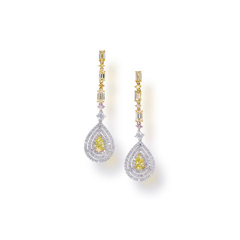 A pair of fancy yellow diamond, colored diamond and diamond pendant earrings