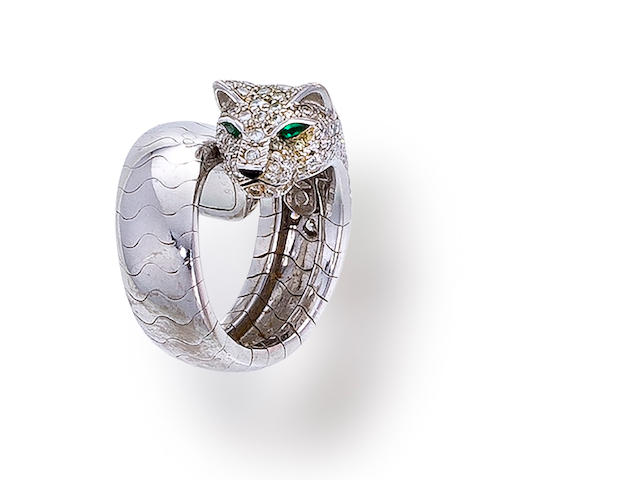 "A diamond and gem-set ""Panthère"" ring, Cartier,"