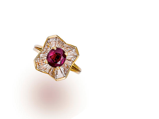 A ruby and diamond ring, Oscar Heyman & Brothers